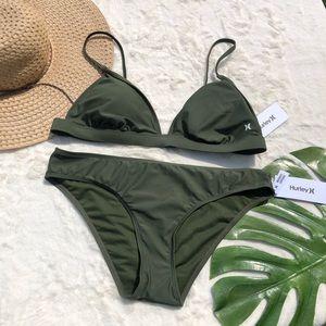 Hurley Green Triangle Top Bikini Size XL